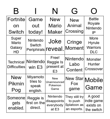 Nintendo Bingo Card