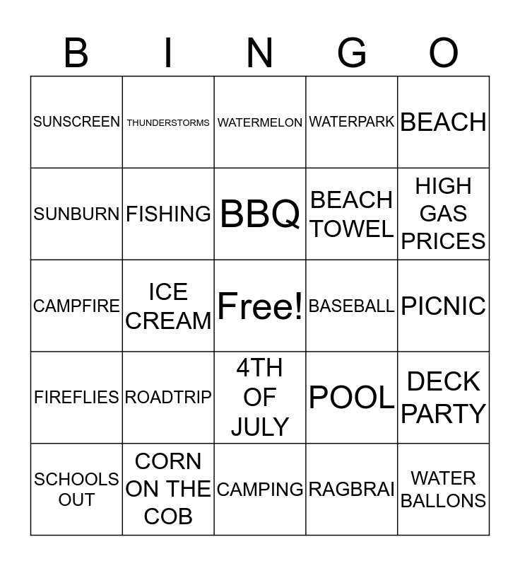 SUMMERTIME BINGO Card