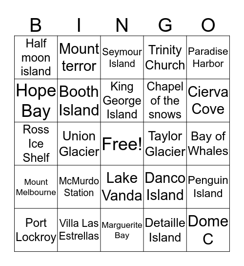 Antarctica's places Bingo Card