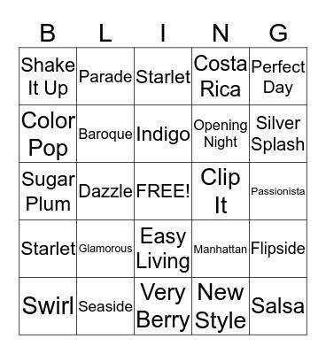 JEWELRY BLINGO Bingo Card