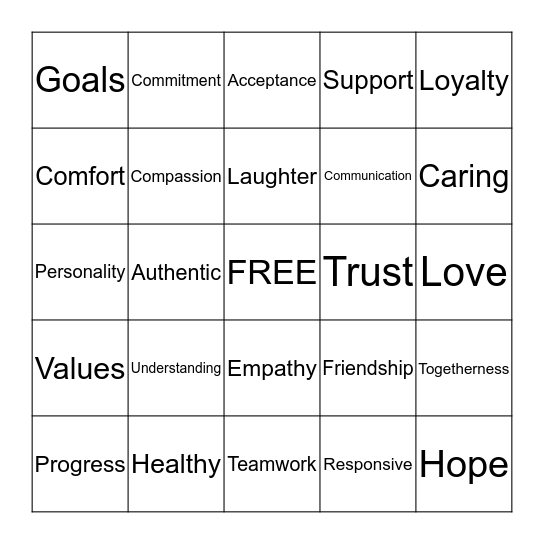 HEALTHY RELATIONSHIPS  Bingo Card