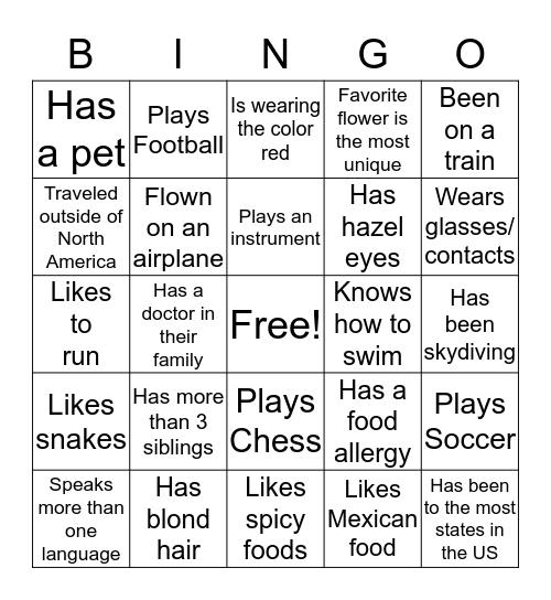 Group Member Bingo Card