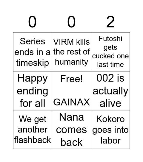 Darling in the Franxx Ending Bingo Card
