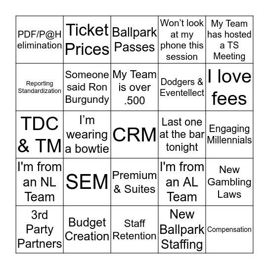 Executive Session Bingo Card