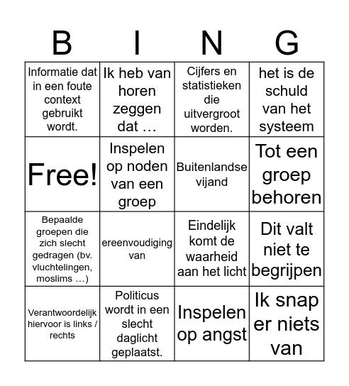 test politieke bingo Card