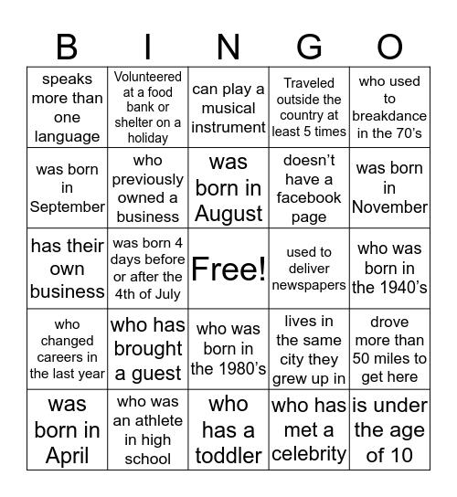Holzapfel Reunion Bingo Card