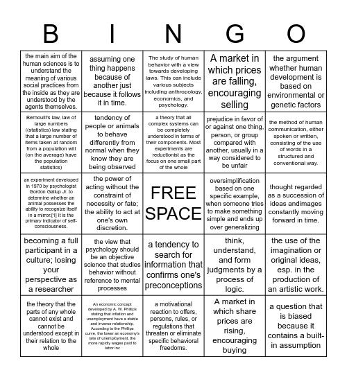 Human Science Vocab  Bingo Card