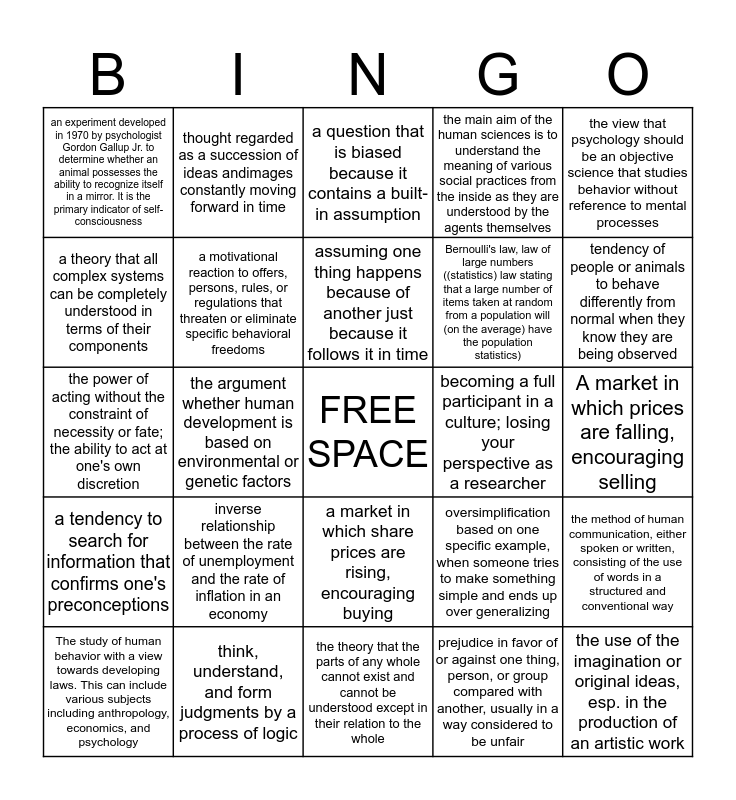 Human Science Bingo Card