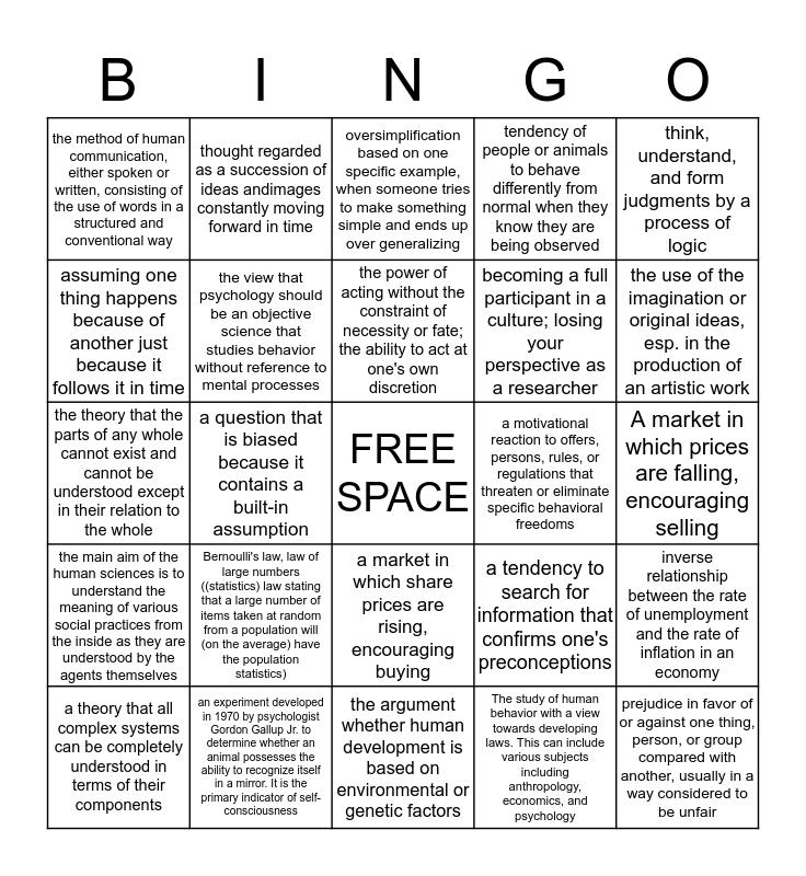 Human Science Bingo Card