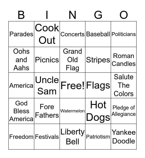 SPARKLER Bingo Card