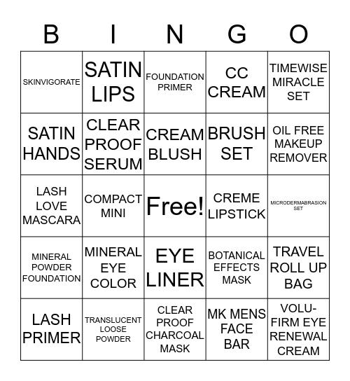 MARY KAY Bingo Card