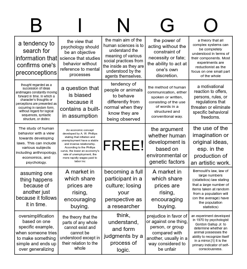 Human Science Vocab Bingo Card