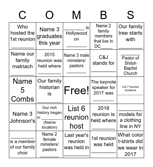 Getting to Know You Family Style Bingo  Bingo Card