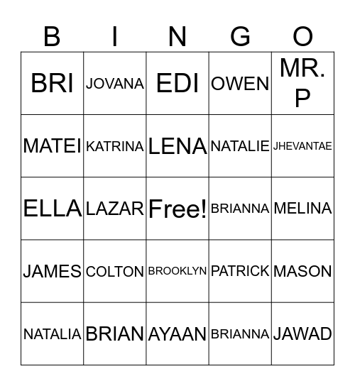 4B Bingo Card