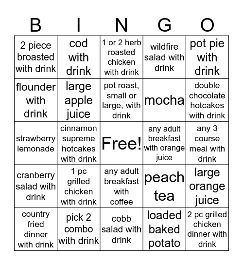 Beverage Bingo Card