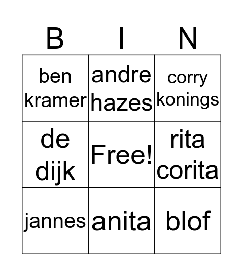 hollandse hits bingo Card