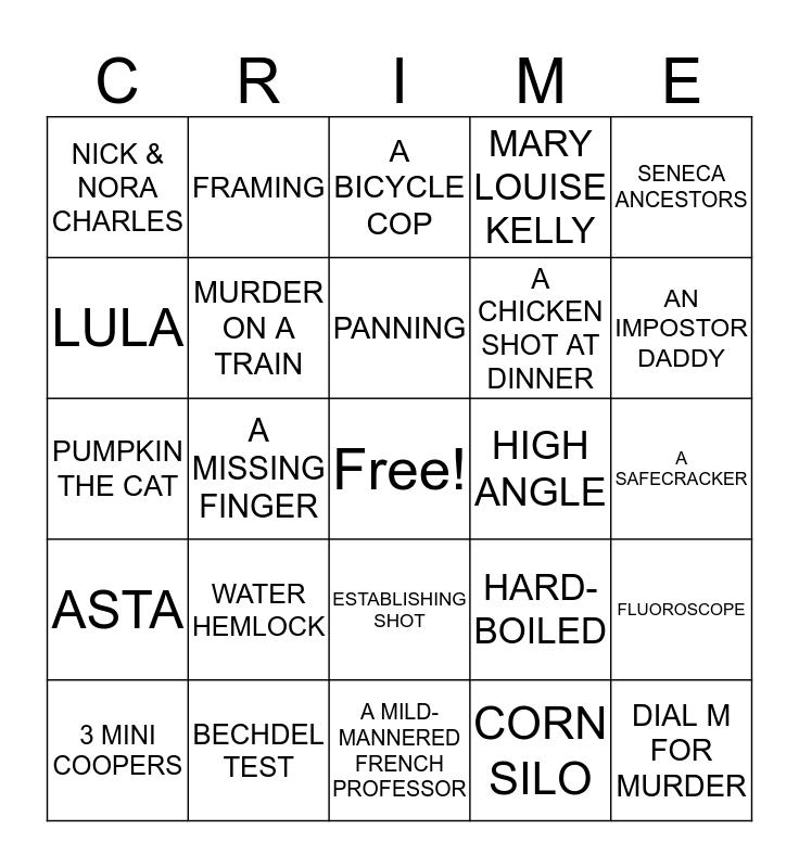 Crime Fiction Bingo Card