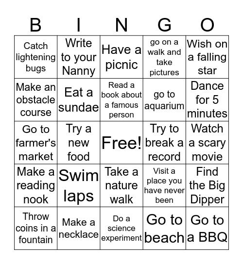 SUMMERTIME ACTIVITIES Bingo Card