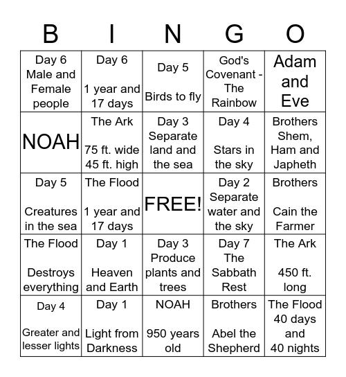 Genesis Review Chapters 1-9 Bingo Card