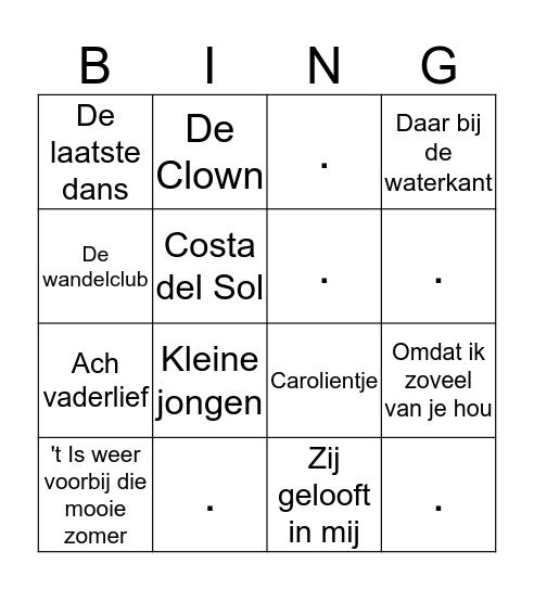 Liedjes Bingo 2 Bingo Card