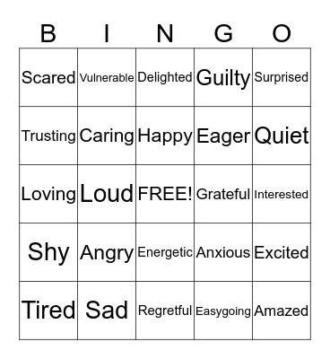 Emotions Bingo Card