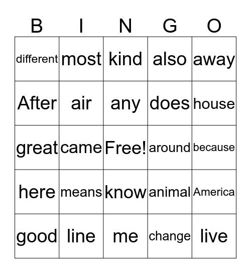 101-150 sight words Bingo Card