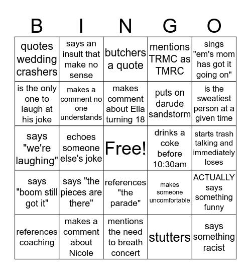 Simmi.... Bingo Card