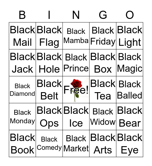 IN THE BLACK Bingo Card