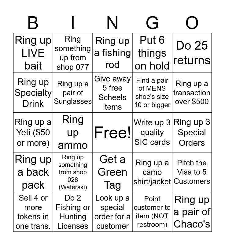 Cashier Bingo Card