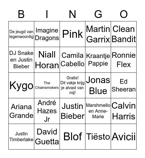 Muziekbingo OVC 2018 Bingo Card