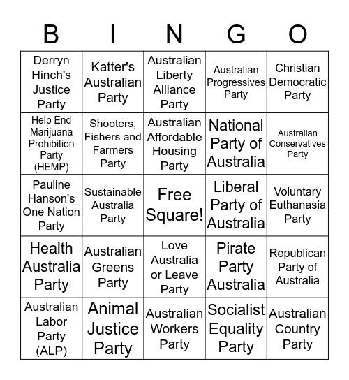 <Party Time> Bingo Card