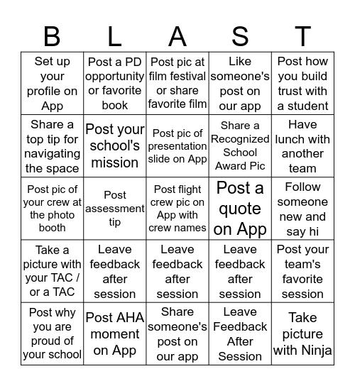 #PBISLC18 App Blast Off  Bingo Card