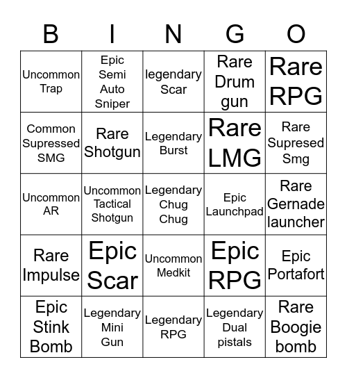Fortnite Bingo Card