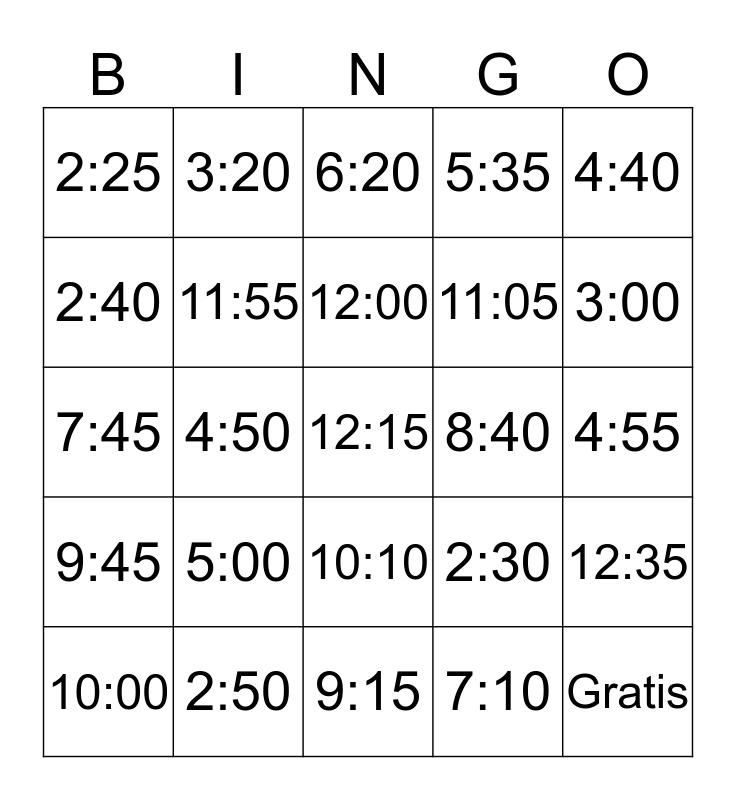 Klok Bingo Card