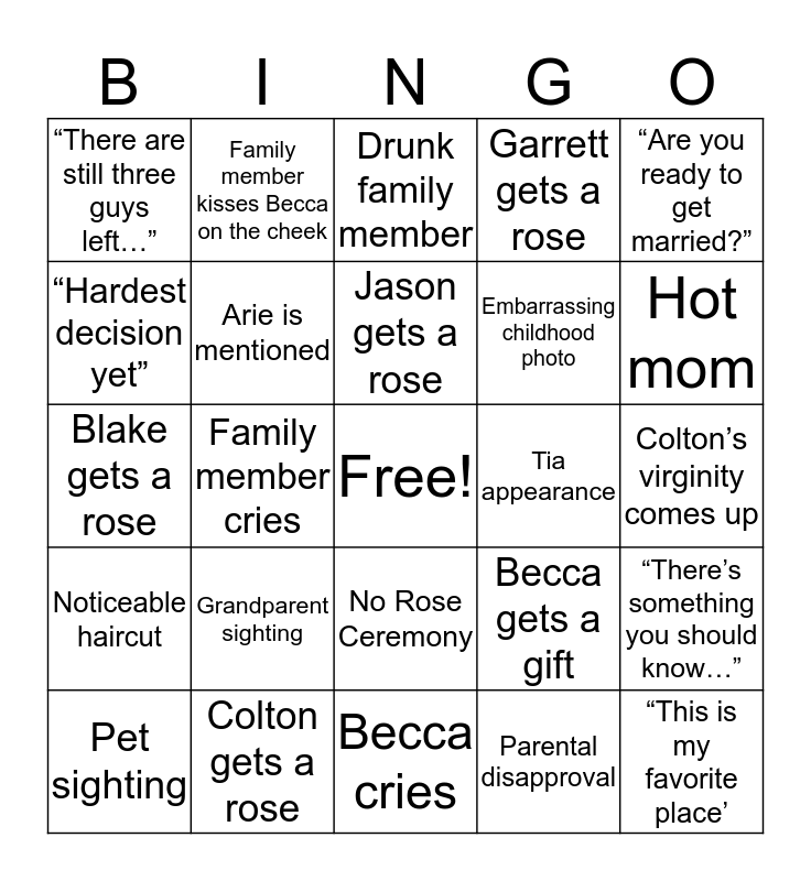 Becca's Hometown Date Bingo Card