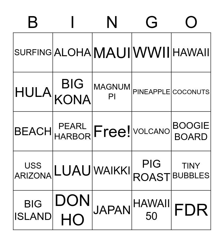 HAWAIIAN LUAU BINGO Card