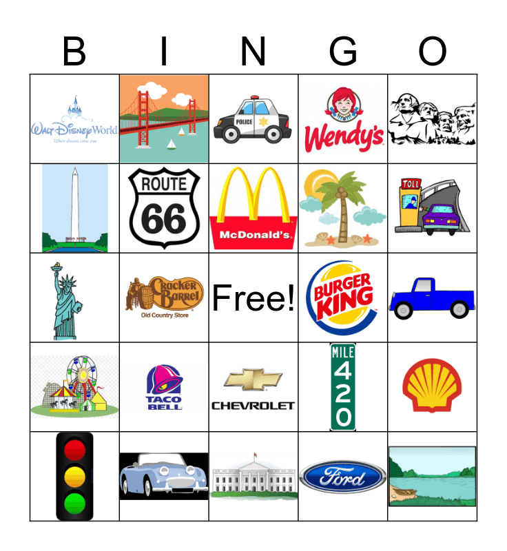 Road Trip Bingo Card