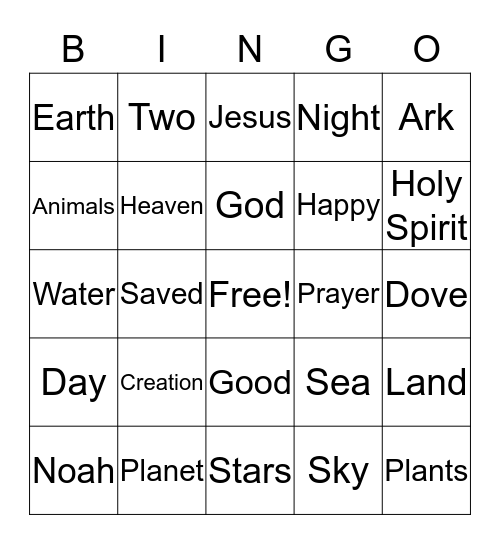 Creation Bingo Card