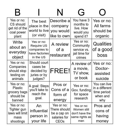 Writing Practice Bingo Card