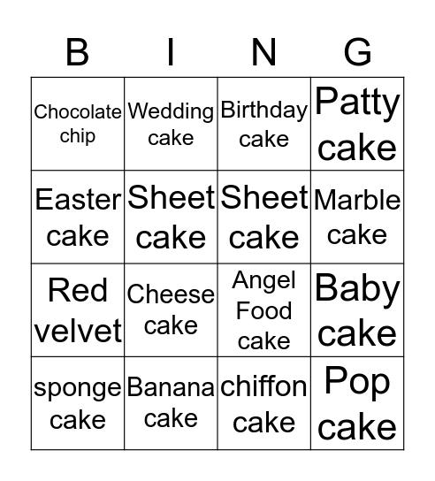 Cake Bingo Card