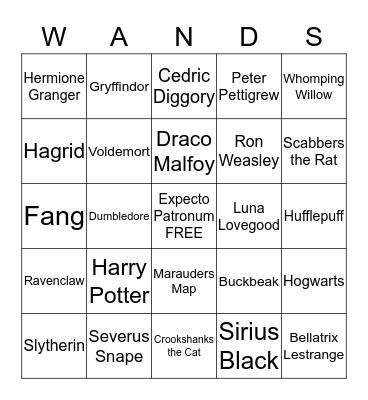 Harry Potter Bingo Card
