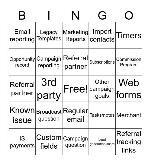 Support Bingo Card