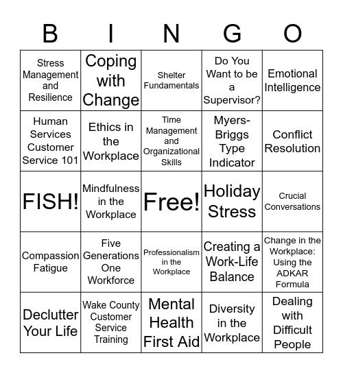 HR Training Bingo Card