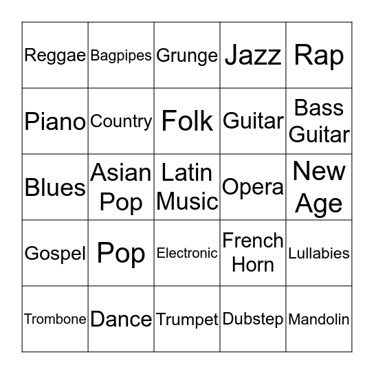 Music and Instruments Bingo Card