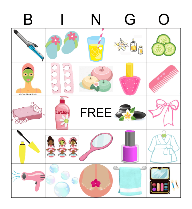 SPA PARTY Bingo Card