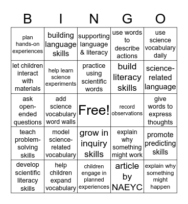 Building Language and Scientific Literacy  Bingo Card