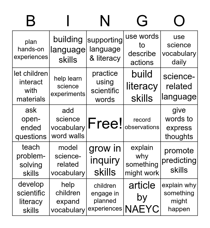 Building Language and Scientific Literacy  Bingo Card