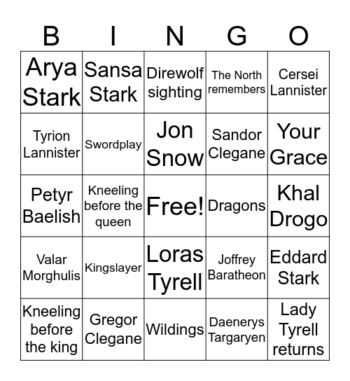 GAME OF THRONES BINGO Card