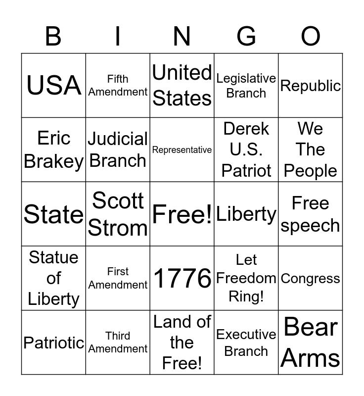 Constitution Festival Bingo Card