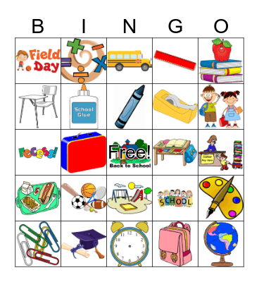 Back to School  Bingo Card